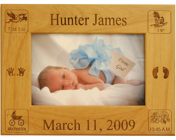 Baby Picture Frame - Birth Announcement Frame, baby christening gifts, baby gifts personalized, customized baby frames