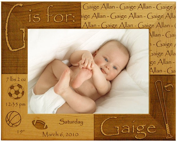 Baby picture frames - Sports Newborn Frame, name picture frames, wooden photo frames, baby photo frame