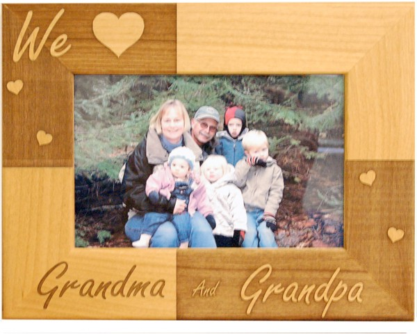 Family picture frames - Classic We Love Grandparents Frame - picture gift ideas, wooden photo frames