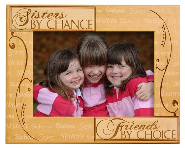 Family picture frames - Sisters By Chance Family Frame - wooden photo frames, picture gift ideas