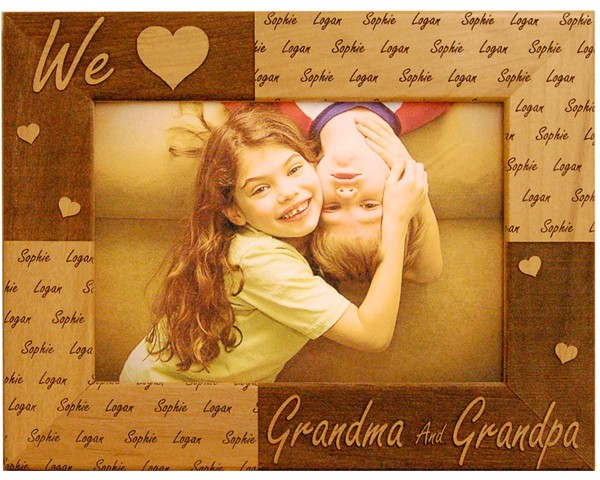 Family picture frames - Personalized We Love Grandparents Frame - wooden photo frames, picture gift ideas