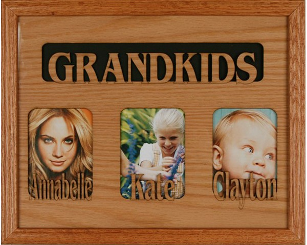 Name picture frames - 3 Openings W/Names - picture gift ideas, wooden photo frames