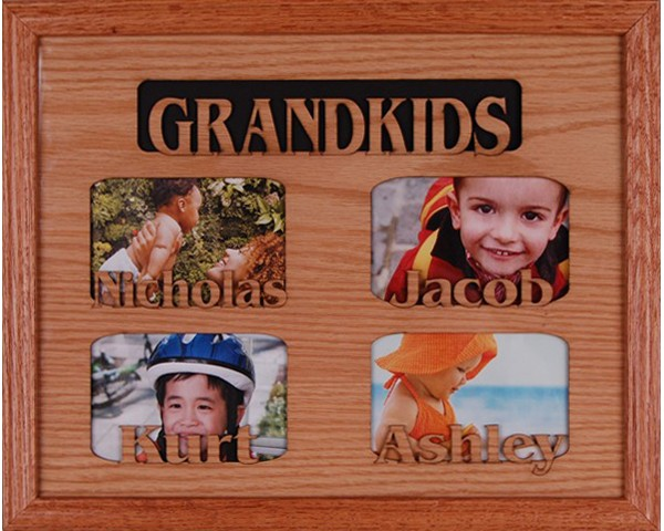 Name picture frames - 4 Openings W/Names - personalized frame, picture gift ideas
