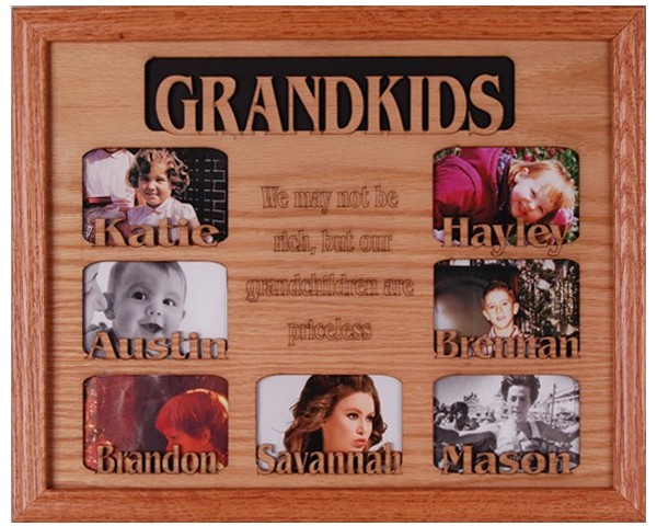 Name picture frames - 7 Openings W/Names - custom wooden frames, free personalization