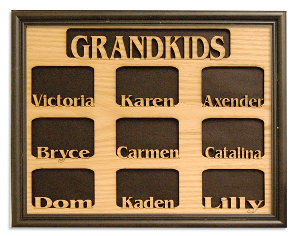 Name picture frames - 9 Openings W/Names - personalized gifts, picture gift ideas