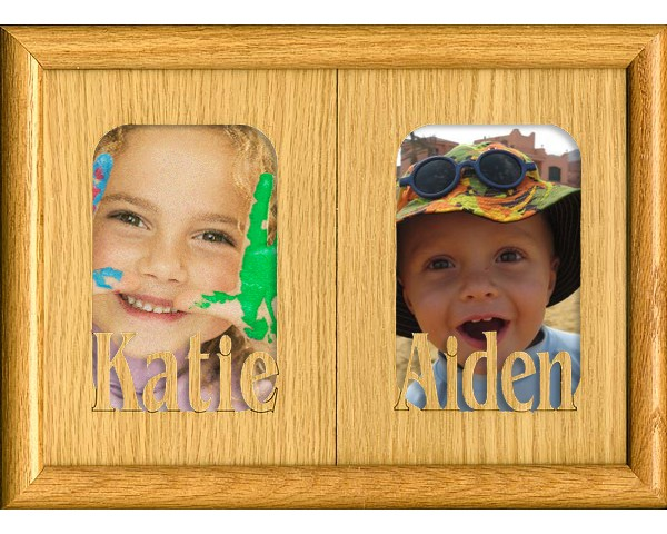 Name picture frames - Double Name Matte - personalized frame, wooden photo frames