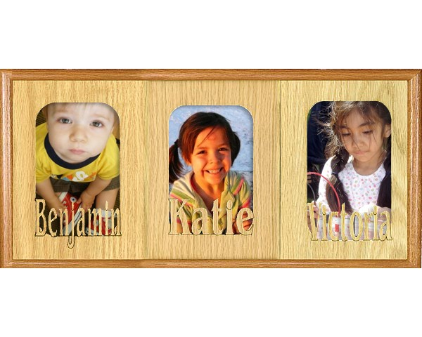 Name picture frames - Triple Name Matte - picture gift ideas, wooden photo frames, personalized frame